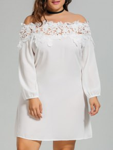 Lace Trim Off Shoulder Plus Size Dress - White 3xl