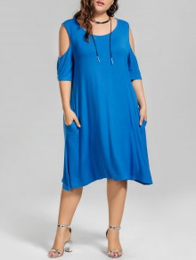 Casual Plus Size Cold Shoulder Dress - Blue Xl