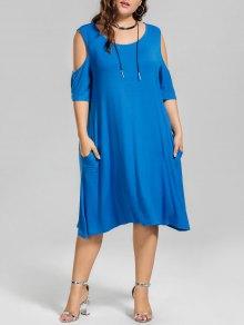 Casual Plus Size Cold Shoulder Dress - Blue 2xl