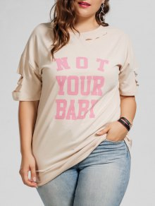 Plus Size Cutout Letter T-Shirt - Apricot 2xl