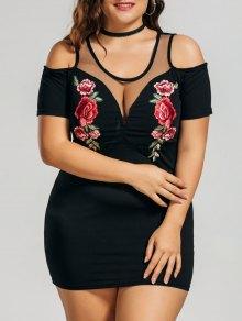 فستان مطرز بالأزهار الحجم الكبير باردة الكتف - أسود Xl