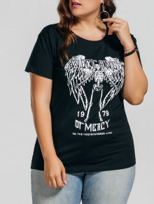 Plus Size Letter Skull T-Shirt - Black 3xl