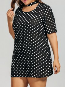 Polka Dot Plus Size Choker Dress - White And Black 3xl
