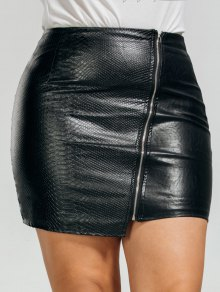 PU Leather Asymmetrical Plus Size Skirt - Black 2xl