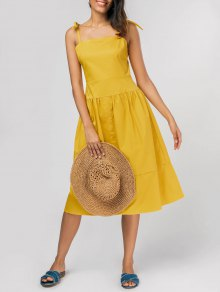 Tie Shoulder Fit And Flare Midi Dress - Yellow L