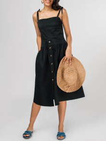 Shoulder Ties Fit And Flare Midi Dress - Black M