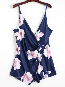 Plunging Neck Floral Cami Draped Romper - Purplish Blue M