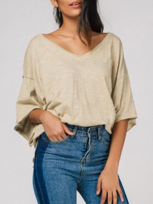 Raw Edge V Neck Oversized Tee - Light Camel