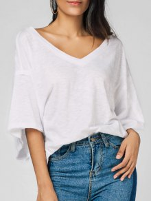 Raw Edge V Neck Oversized Tee - White