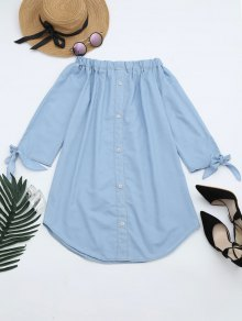 Off The Shoulder Button Embellished Dress - Light Blue M