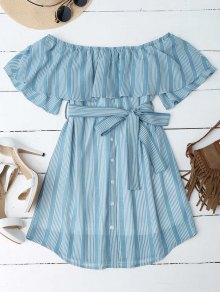 Multi Stripe Off The Shoulder Dress - Blue Xl