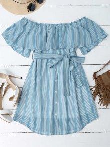 Multi Stripe Off The Shoulder Dress - Blue S