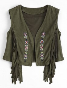 Embroidered Faux Suede Fringed Waistcoat - Army Green S