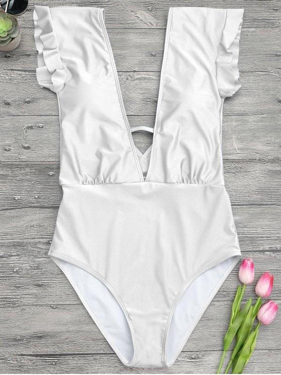 غمد يغرق قطعة واحدة ملابس السباحة - أبيض S