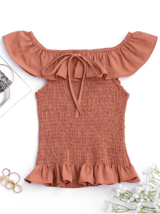 ladies Ruffles Off Shoulder Smocked Cover Up Top - BRICK-RED ONE SIZE