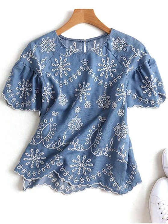 sale Embroidered Scalloped Top - DENIM BLUE S