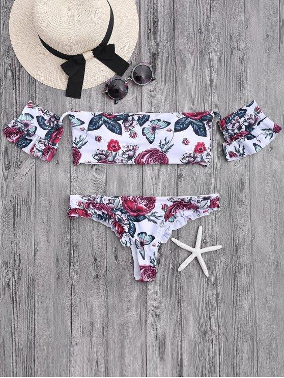 buy Floral Frilled Off The Shoulder Bikini Set - WHITE S