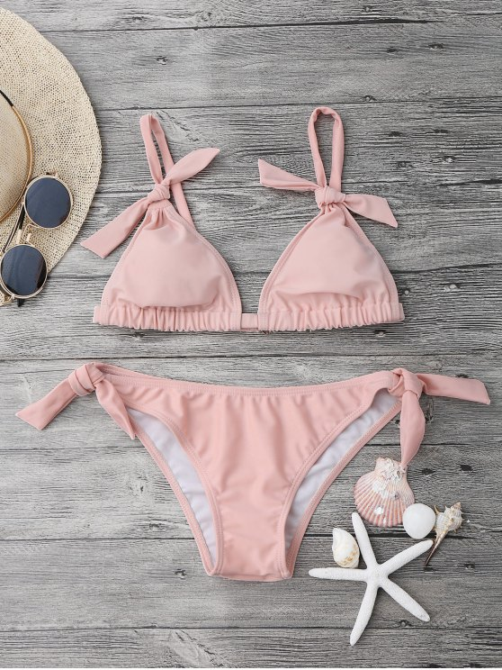 Juego de bikini acolchado nudo de nudo - Rosa M