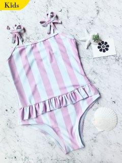 القوس الأشرطة مخطط أطفال قطعة واحدة ملابس السباحة - الوردي والأبيض 6t