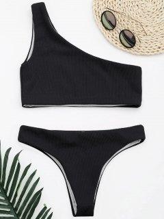 Ribbed Texture One Shoulder Bikini - Black L