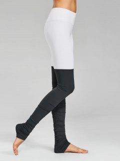 Bloc De Couleurs à Manches Longues Leggings Sportives - Gris Et Blanc L