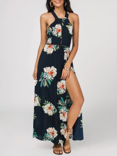 Floral Print High Slit Backless Maxi Dress - Purplish Blue L