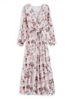 فستان زهري مربوط ماكسي كهنوتي - أبيض 2xl
