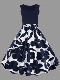 Plus Size Floral Printed Midi Vintage Flare Dress - Purplish Blue 3xl