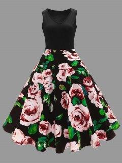 Plus Size Floral Printed Midi Vintage Flare Dress - Black Xl