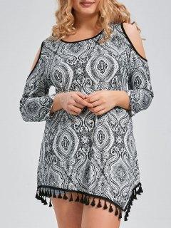 Plus Size Tassel Trim Printed Open Shoulder Long Sleeve Tee - Black 3xl