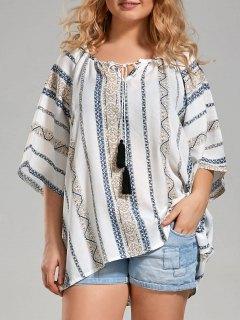 Plus Size Tribal Printed Bohemian Blouse With Tassel - White 5xl