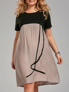 Plus Size Color Block Knee Length Smock Dress - Khaki 3xl