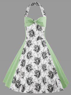 Halter Floral Print Plus Size Vintage Dress - Light Green 4xl