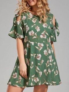 Plus Size Floral Cold Shoulder Skater Dress - Green 4xl