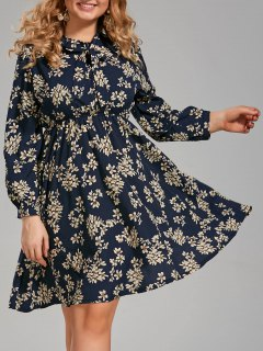 Plus Size Long Sleeve Floral Pussy Bow Dress - Purplish Blue 5xl
