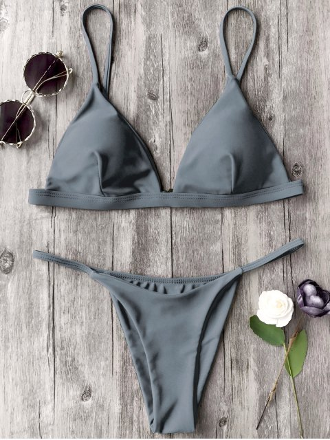best Spaghetti Straps Plunge Thong Bikini Set - GRAY S Mobile