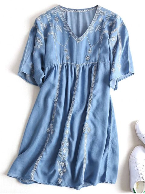 women Embroidered Casual Shift Dress - DENIM BLUE M Mobile