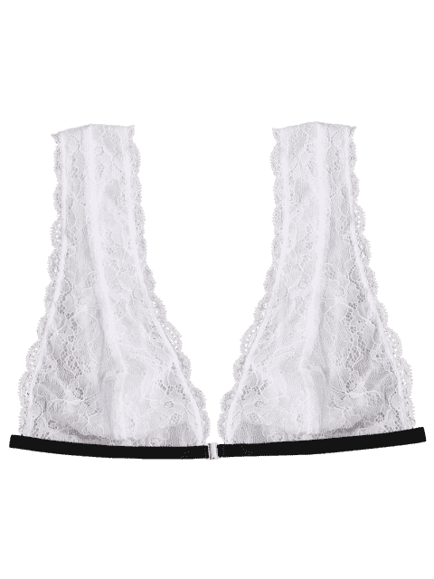 new Front Closure Plunging Neck Lace Bralette - WHITE M Mobile