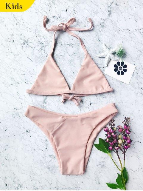 unique Tie Back Halter Toddler Girls Bikini Set - PINK 6T Mobile