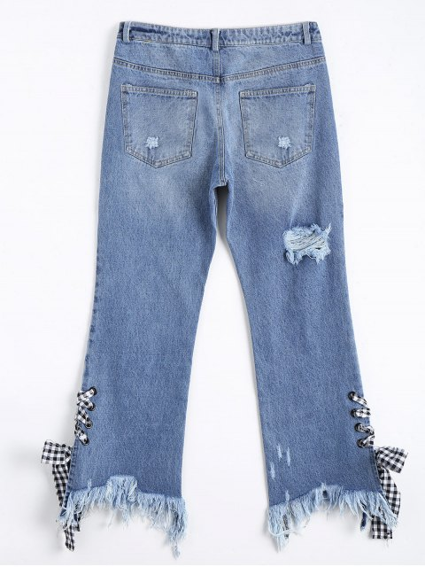 trendy Distressed Lace Up Cutoffs Bootcut Jeans - DENIM BLUE L Mobile