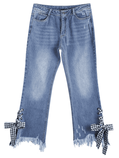 chic Distressed Lace Up Cutoffs Bootcut Jeans - DENIM BLUE M Mobile