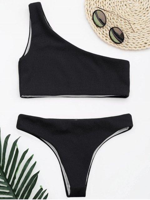 online Ribbed Texture One Shoulder Bikini - BLACK S Mobile