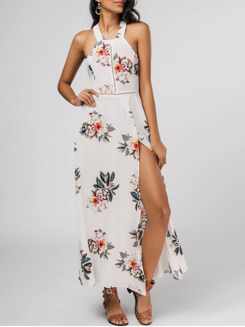 online Floral Print High Slit Backless Maxi Dress - WHITE XL Mobile
