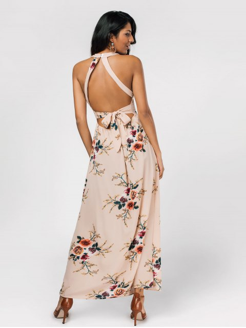 unique Floral Print High Slit Backless Maxi Dress - LIGHT KHAKI S Mobile