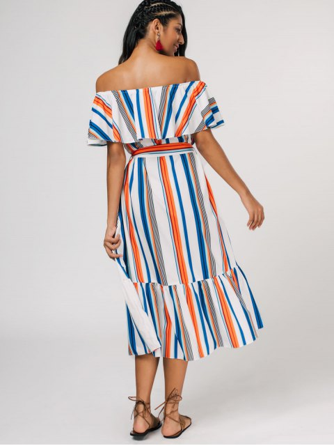 latest Flounce Striped Belted Dress - STRIPE ONE SIZE Mobile