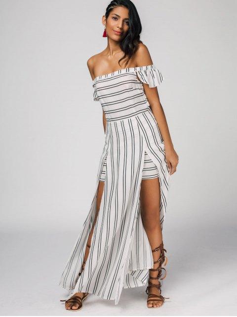 outfit Off The Shoulder Slit Striped Maxi Dress - STRIPE S Mobile