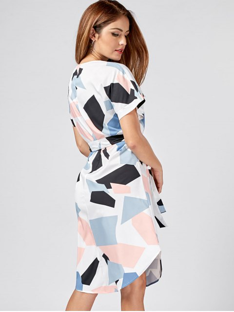 best Split-neck Graphic Dolphin Dress - COLORMIX L Mobile