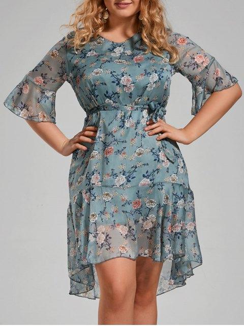 unique Plus Size Floral Printed Organza Ruffle Dress - MEDIUM BLUE 5XL Mobile