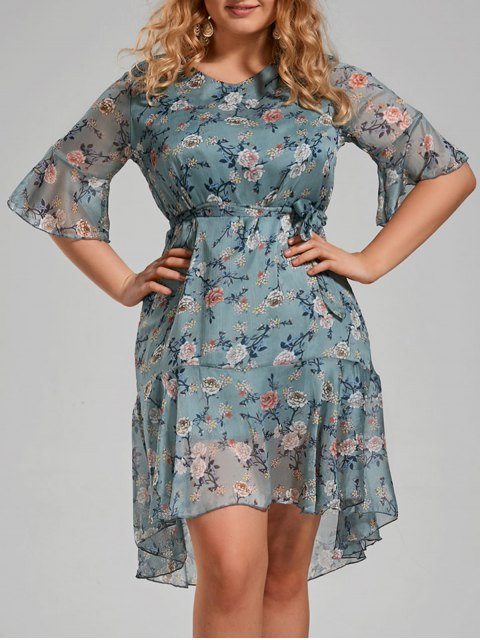 womens Plus Size Floral Printed Organza Ruffle Dress - MEDIUM BLUE 4XL Mobile