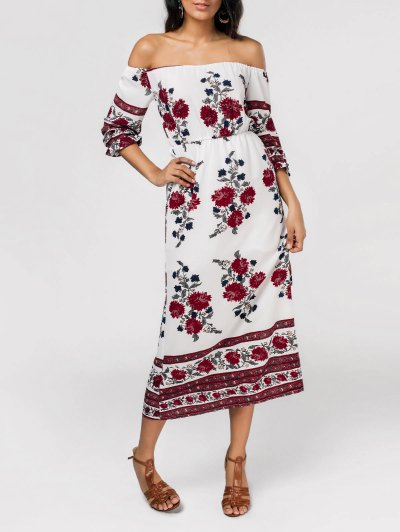 Slit Floral Print Off The Shoulder Dress - Floral S